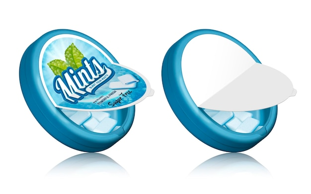 Design de embalagem de goma de menta, recipientes abertos com gomas