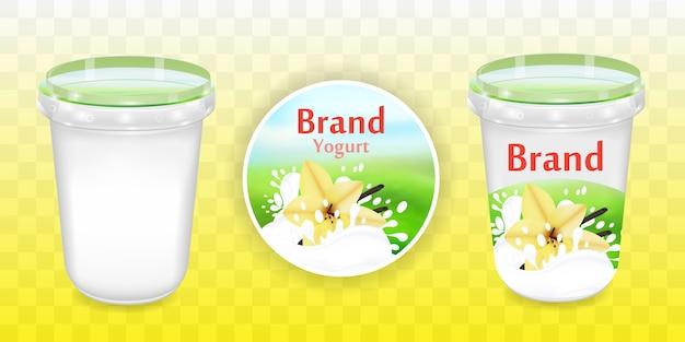 Design de embalagem de iogurte de baunilha, recipiente para comida em ilustração 3d em fundo transparente. modelo de maquete de embalagem realista com design de amostra.