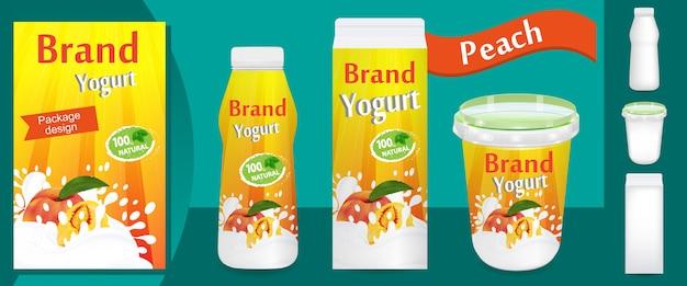 Design de embalagem de iogurte de pêssego ou anúncios