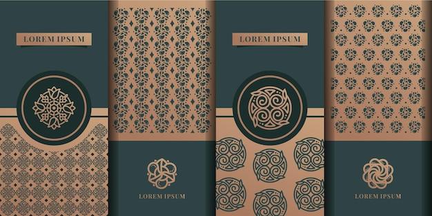 Design de embalagem de luxo dourado; fluxo de fundo floralolive treepattern
