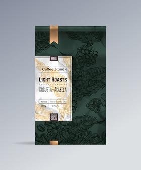 Design de embalagem de saco de café.
