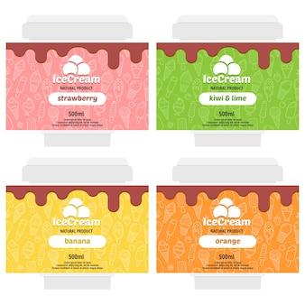 Design de embalagem de sorvete de frutas de vetor