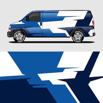 Design de embalagem de van azul envolvendo etiqueta e decalque design
