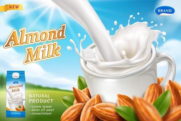 Design de embalagem para leite de amêndoa ou bebida vegana com respingos leitosos no copo