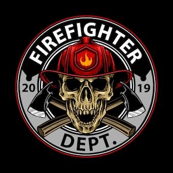 Design de emblema de caveira de bombeiro