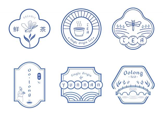 Design de emblema de chá com estilo padrão azul chinês