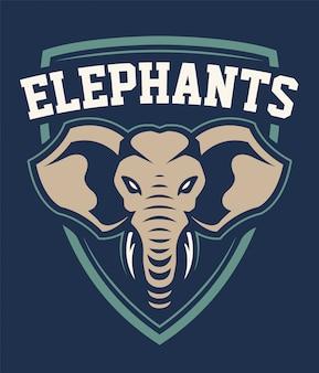 Design de emblema de esporte de mascote de elefante