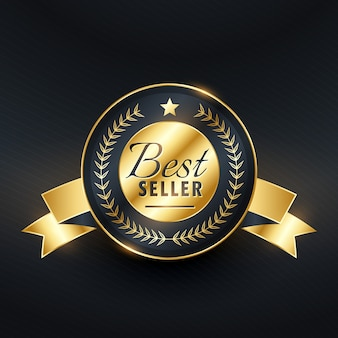Design de emblema de etiqueta dourada de melhor vendedor