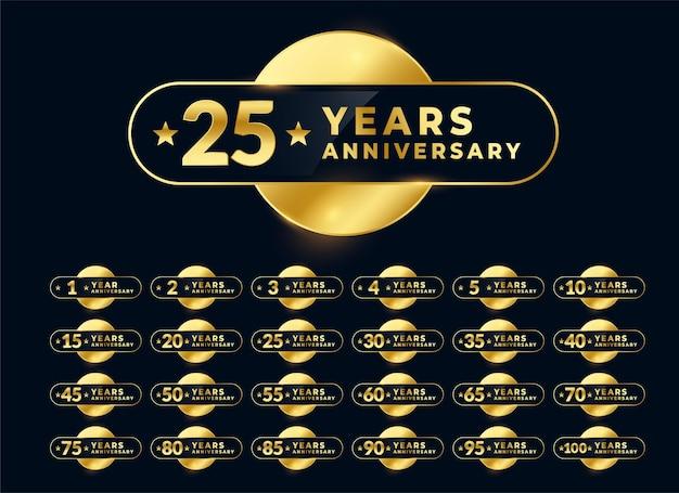 Design de emblema de etiquetas de aniversário de casamento