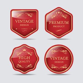 Design de emblema de luxo vintage de banner de rótulo de qualidade premium