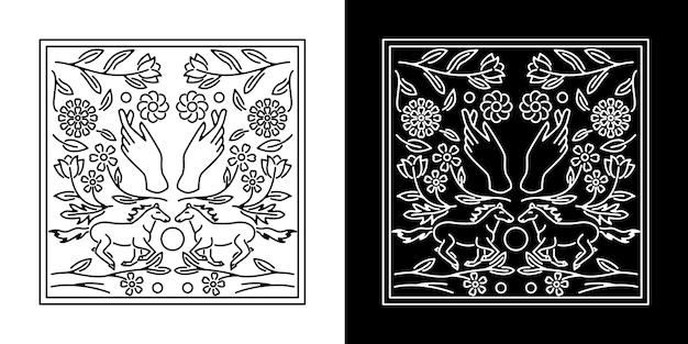 Design de emblema de mão e cavalo monoline