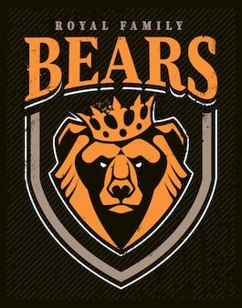 Design de emblema de mascote de urso