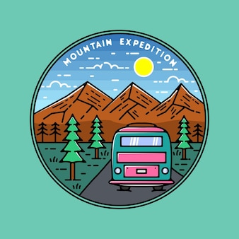 Design de emblema de monoline para expedição de montanha