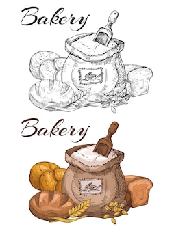 Design de emblema de padaria colorido e preto e branco