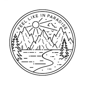 Design de emblema vintage monoline aventura
