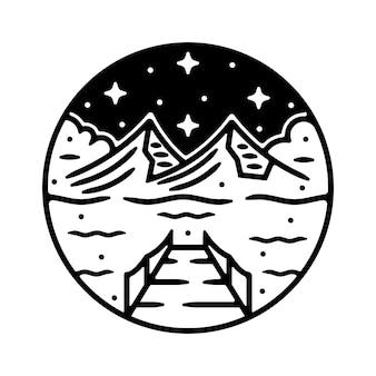 Design de emblema vintage monoline para exterior
