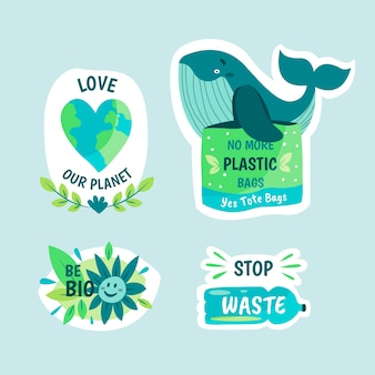 Design de emblemas de ecologia desenhados à mão