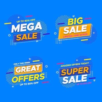 Design de emblemas de mega venda com desconto Vetor grátis
