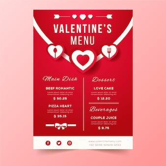 Design de envelope de menu de dia dos namorados