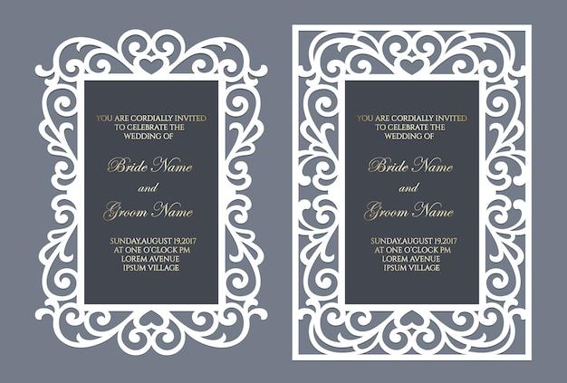 Design de envelope de moldura de bolso de corte a laser. elegante moldura ornamental para convite de casamento.