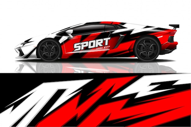 Design de envoltório de decalque de carro esporte