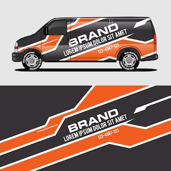 Design de envoltório de van laranja envoltura design de adesivo e decalque