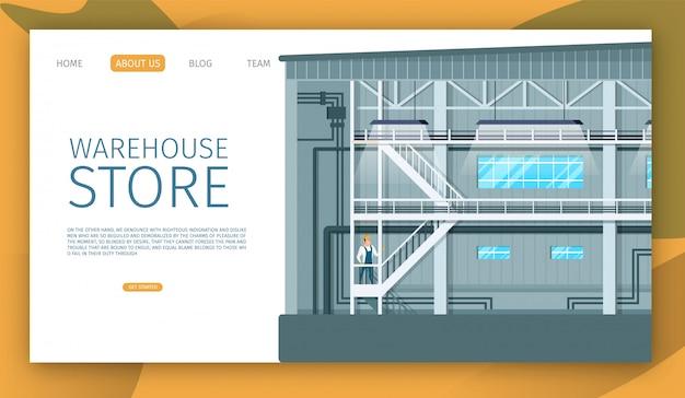 Design de espaço interno industrial de loja de armazém