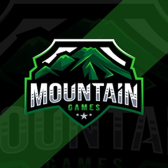Design de esporte de logotipo de mascote de jogos de montanha