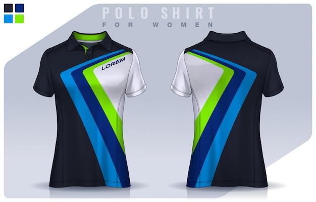 Design de esporte de t-shirt para mulheres, camisa de futebol para clube de futebol. modelo de uniforme de polo.