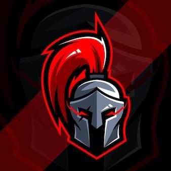 Design de esports com logotipo de mascote de cavaleiro espartano