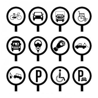 Design de estacionamento sobre ilustração vetorial de fundo branco