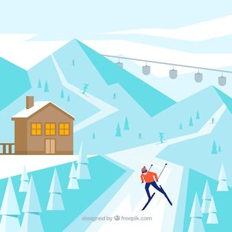 Design de estância de esqui azul plano
