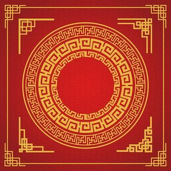 Design de estilo de moldura chinesa em fundo vermelho