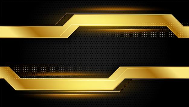 Design de estilo geométrico dourado e preto brilhante