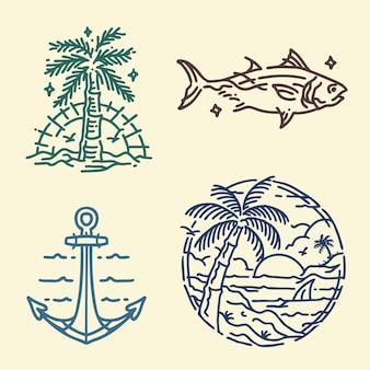 Design de estilo monoline com tema de praia