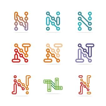 Design de estoque da letra n