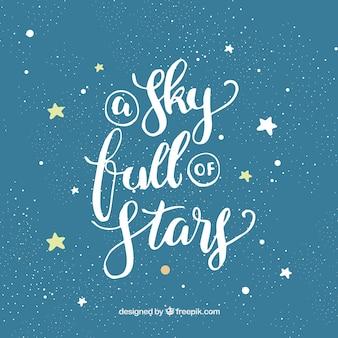 Design de estrela azul e branco com letras