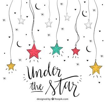 Design de estrela pendurado com letras