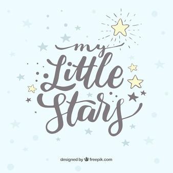 Design de estrelas brancas com letras