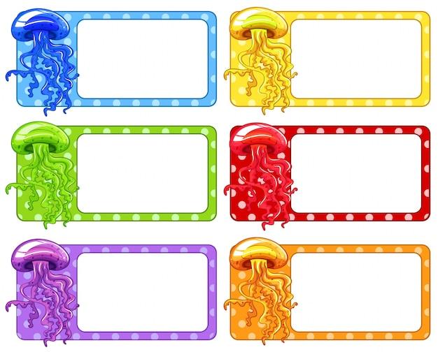 Design de etiqueta com ilustração de medusa