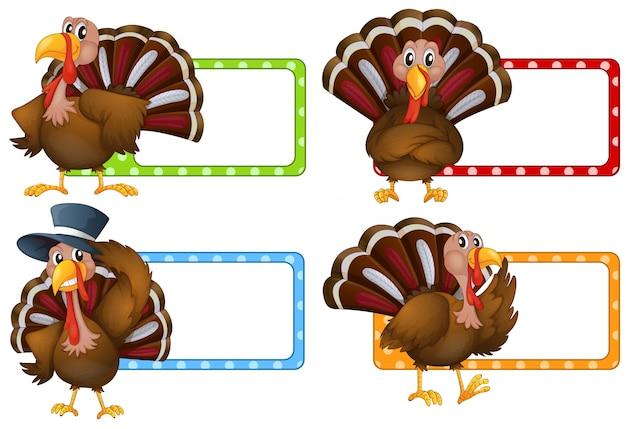 Design de etiqueta com ilustração de peru selvagem