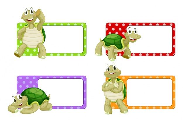 Design de etiqueta com ilustração de tartarugas bonitas