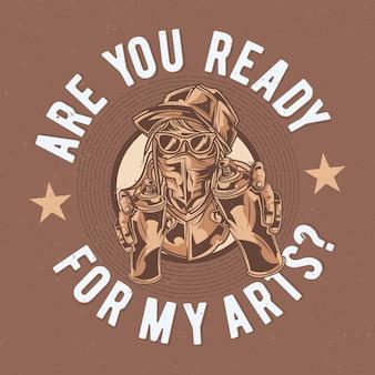 Design de etiqueta de camiseta com ilustração de artista de rua