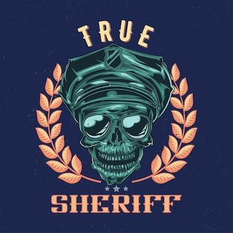 Design de etiqueta de camiseta com ilustração de caveira em um chapéu de polícia e óculos escuros