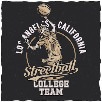 Design de etiqueta de camiseta com ilustração de jogador de streetball