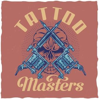 Design de etiqueta de camiseta com ilustração de máquinas de tatuagem