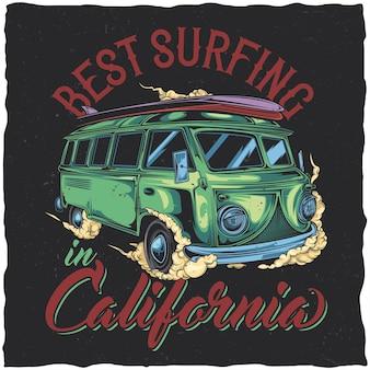 Design de etiqueta de camiseta com ilustração de ônibus hippie de surfe