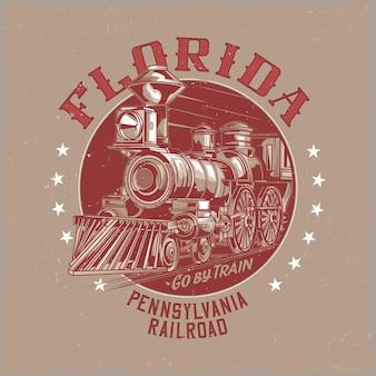 Design de etiqueta de camiseta com ilustração de trem clássico