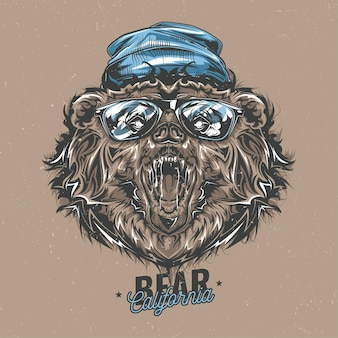Design de etiqueta de camiseta com ilustração de urso estilo hipster em um chapéu e óculos