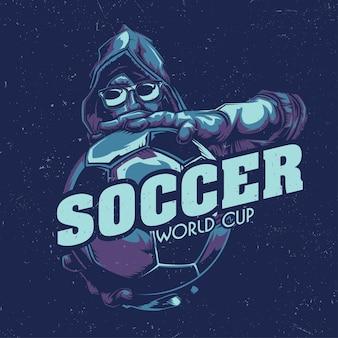Design de etiqueta de camiseta com ilustração do jogador de futebol que segura a bola